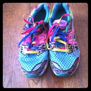 Multi colored ASICS running shoes
